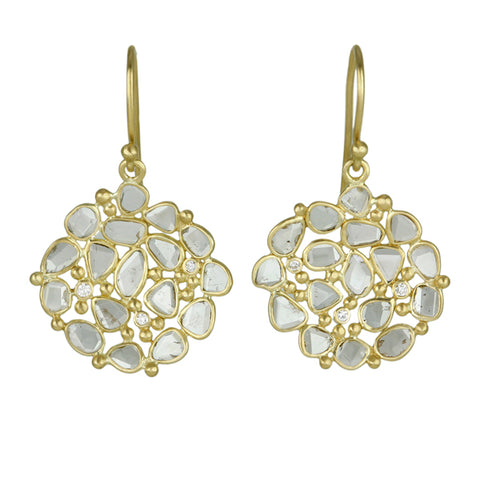 "Kothari Gold and Polki Diamond ""Small Dish"" Earrings"