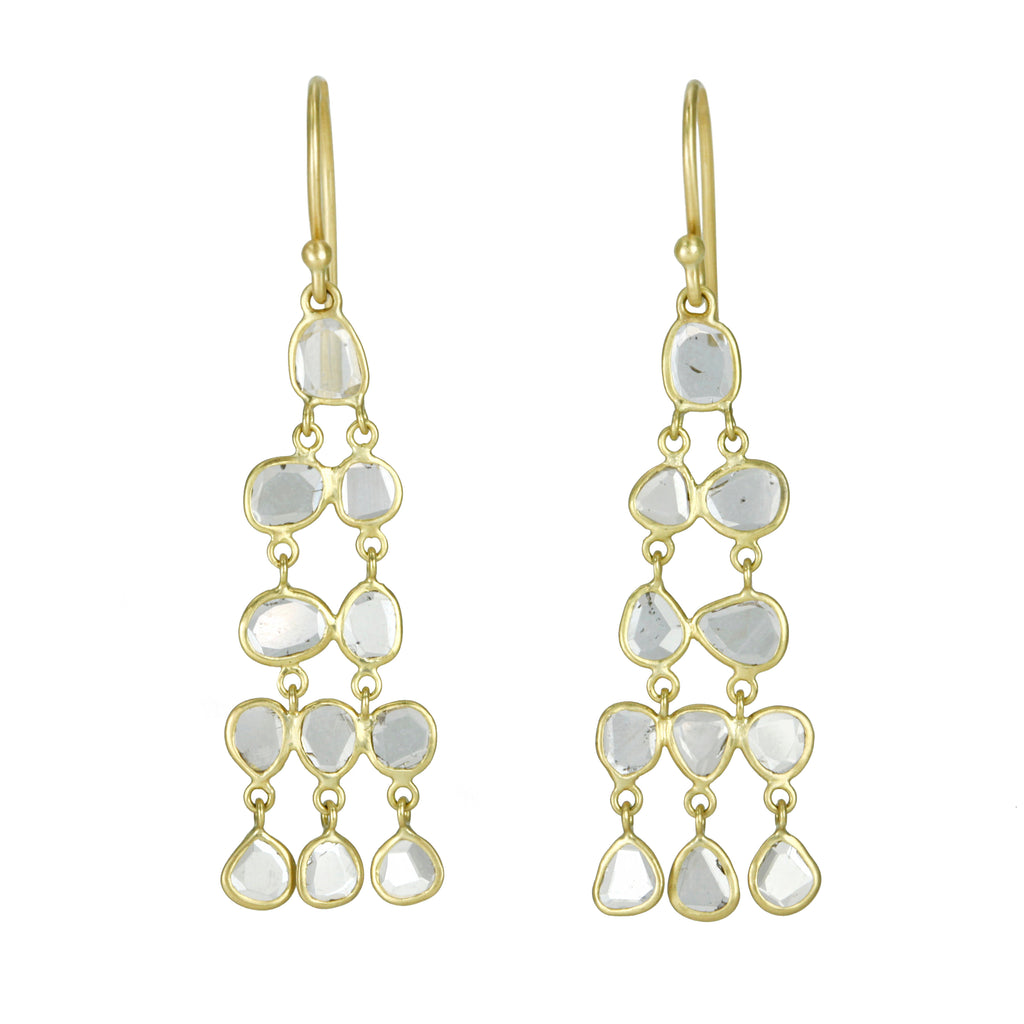 "Kothari Gold Polki Diamond ""Chandelier"" Earrings"
