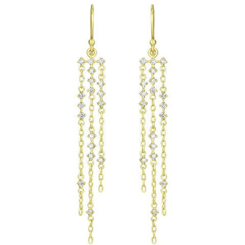 "Temple St. Clair Three Gold Chain ""Starlight"" Earrings with Diamonds"