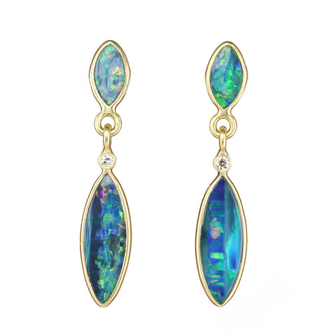 Kothari Gold Double Marquise Boulder Opal Drop Earrings