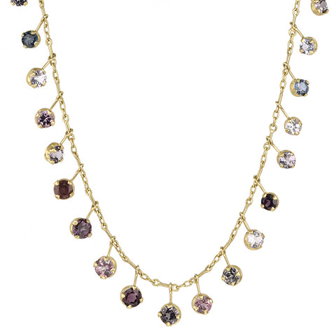 "Gold Multi-Toned Purple Spinel ""Shooting Star"" Fringe Necklace"