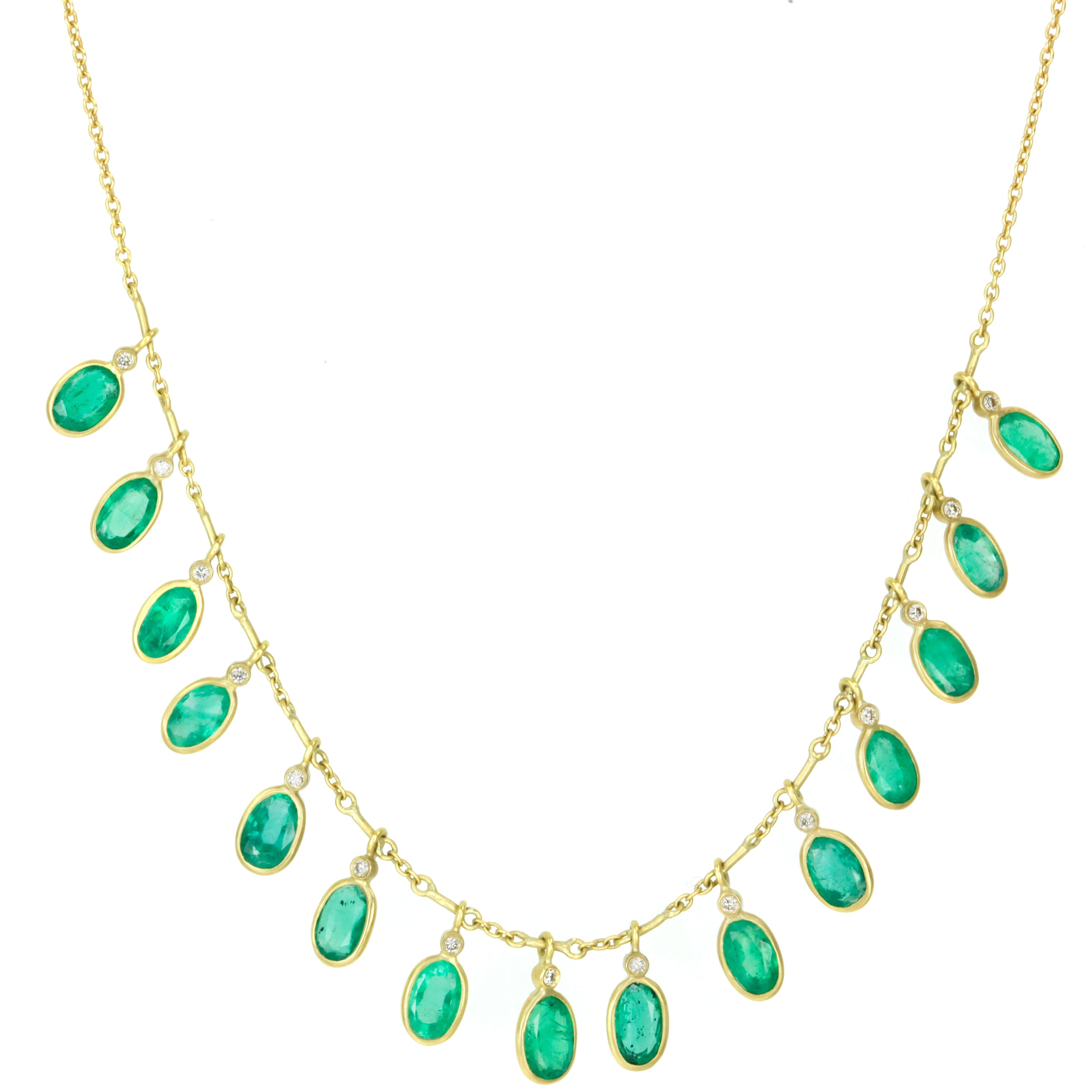 Kothari Gold Bezel Set Emerald And Diamond Demi Fringe Necklace