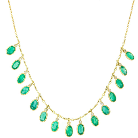 "Gold Bezel-Set Emerald and Diamond ""Demi Fringe"" Necklace"
