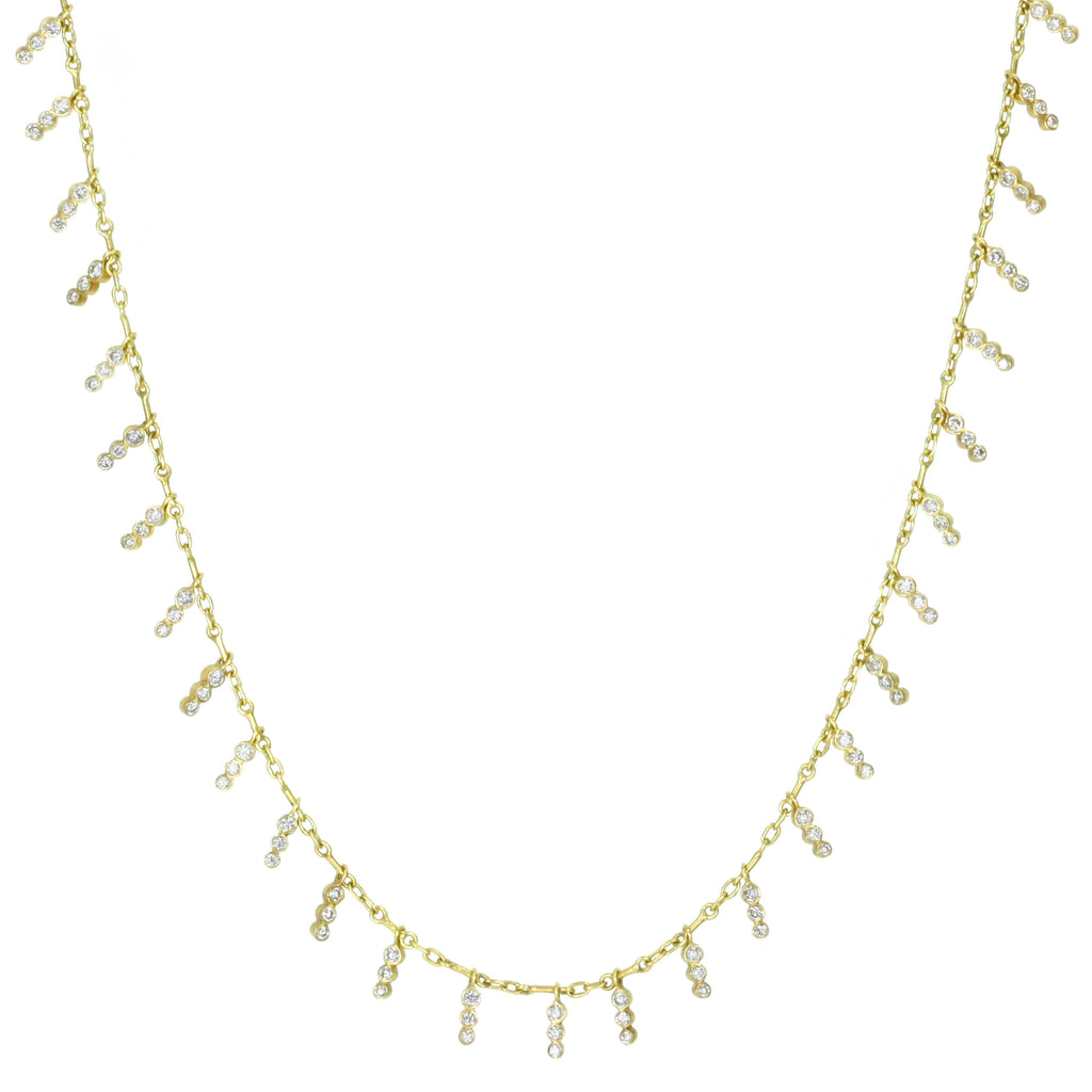 "Gold ""Tiny Icicles"" Diamond Fringe Necklace"