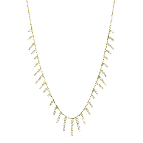 "Gold and Diamond ""Icicle Wave"" Fringe Necklace"