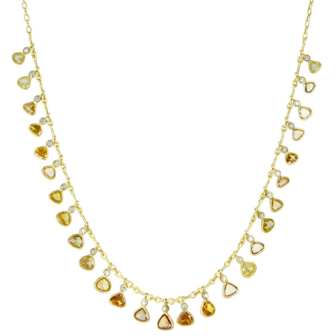 Gold Fancy-Colored Diamond Fringe Necklace