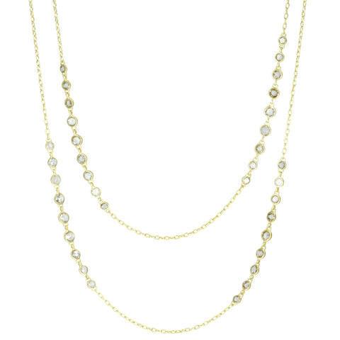 "Gold Bezel-Set Champagne Rosecut Diamond ""Garland"" Necklace"