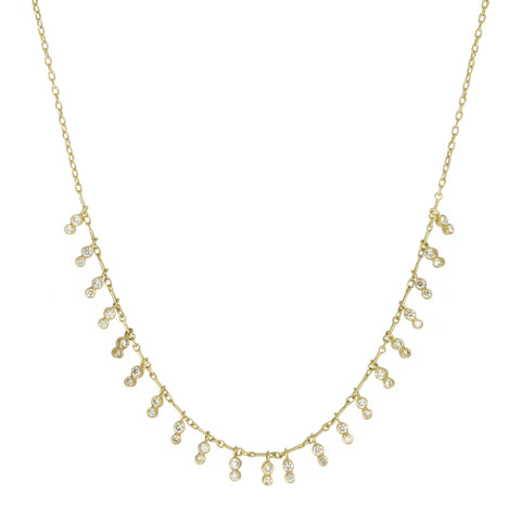 Gold and Champagne Diamond Fringe Necklace