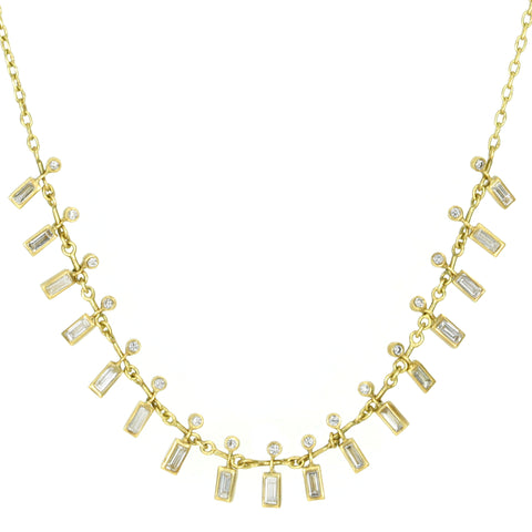 "Round and Baguette Diamond ""Bindi Demi-Fringe"" Necklace"