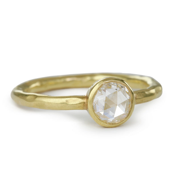 18K Gold Hammered Stacking Ring with Rose-Cut Diamond