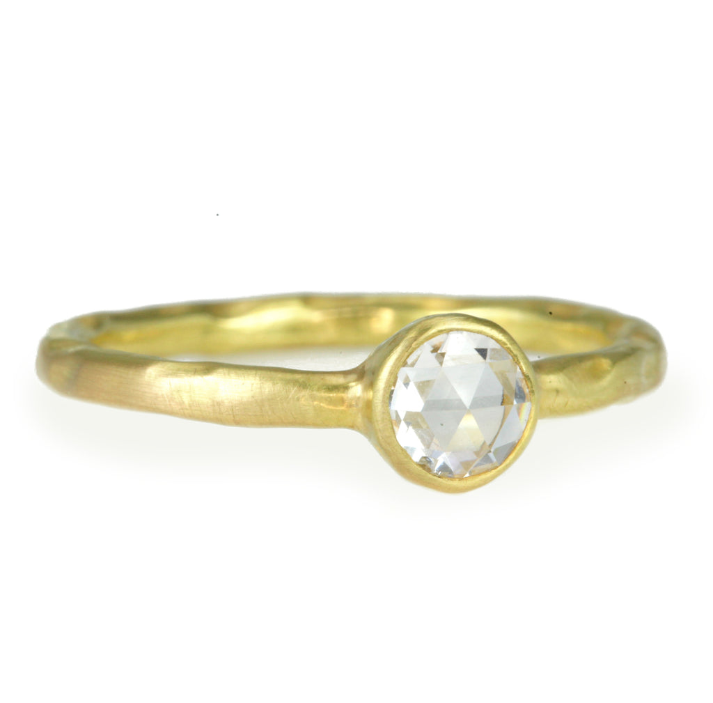 Gold and Rose Cut Diamond Stacking Ring