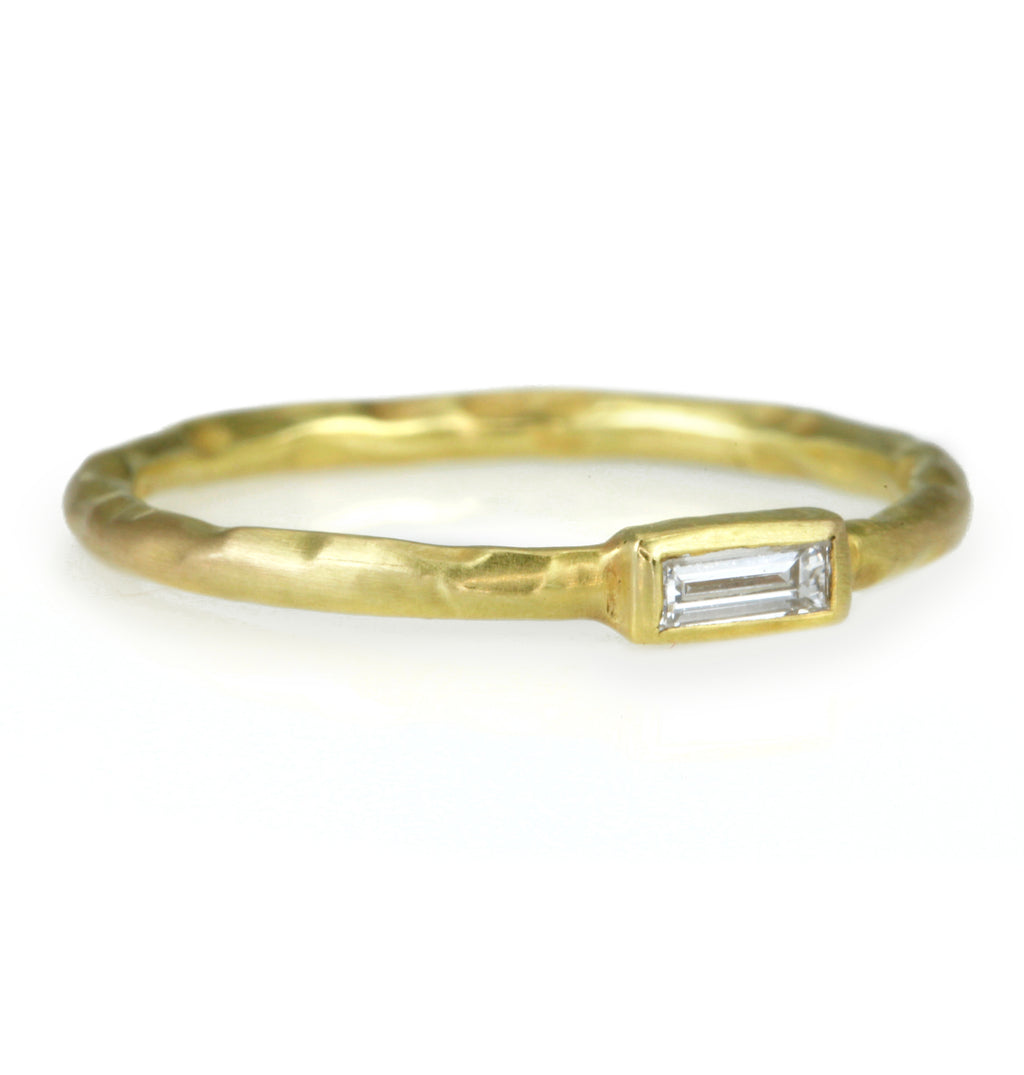 Kothari Gold and Baguette Diamond Stacking Ring