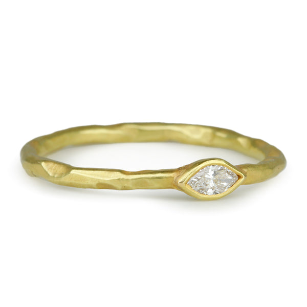 Gold and Marquise Diamond Stacking Ring