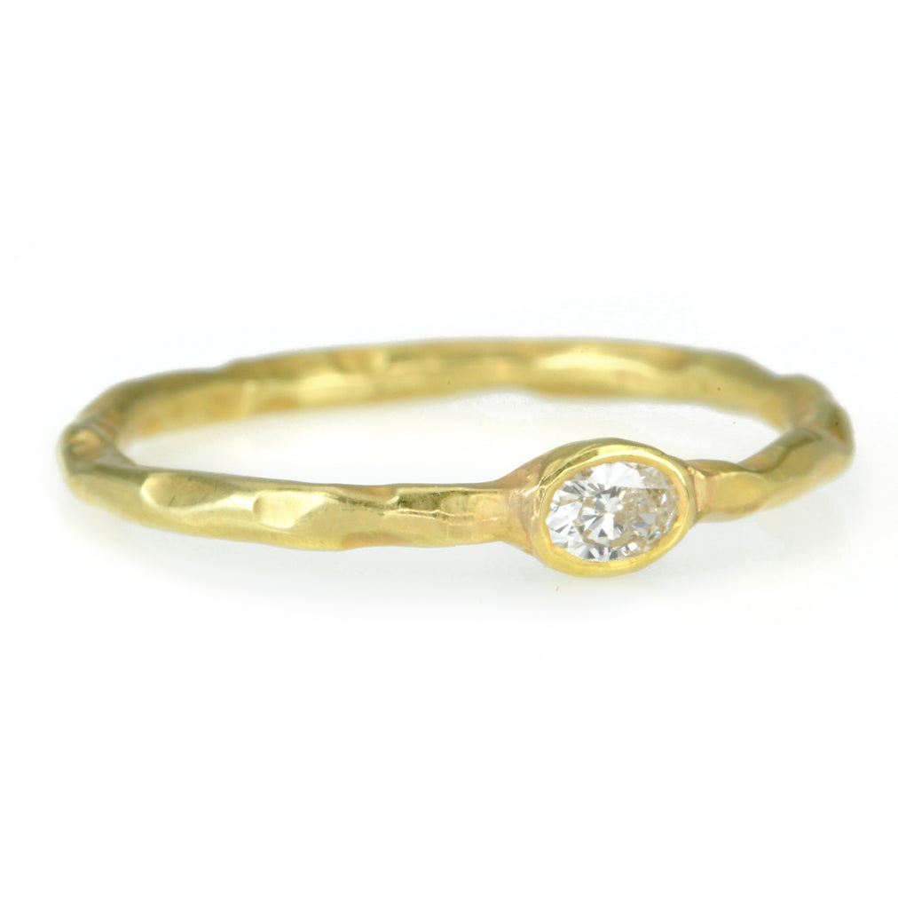 18K Gold and Full Cut Oval Diamond Stacking Ring