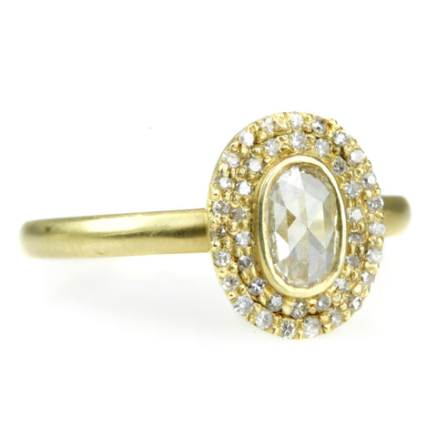 Kothari Oval Rosecut Diamond Ring with Double Diamond Halo