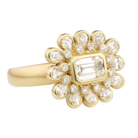 Gold Bezel-Set Emerald-Cut Diamond Ring with Teardrop Halo