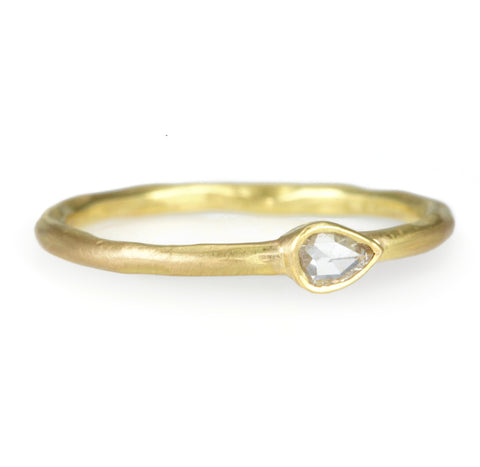 Gold and Rose Cut Teardrop Diamond