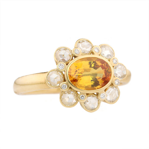 "Kothari Gold Bezel-Set Yellow Sapphire & Rosecut Diamond ""Aster Flower"" Ring"