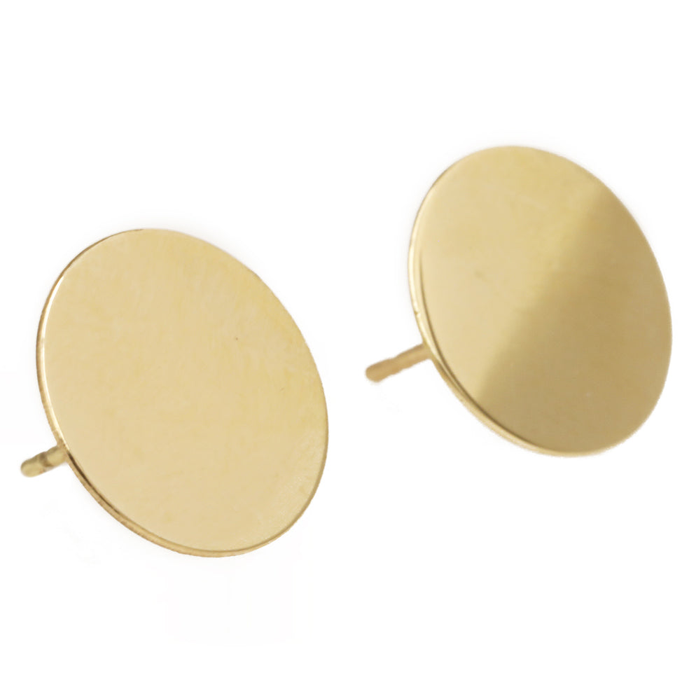 "Kathleen Whitaker Gold 12mm ""Sequin"" Stud Earrings"