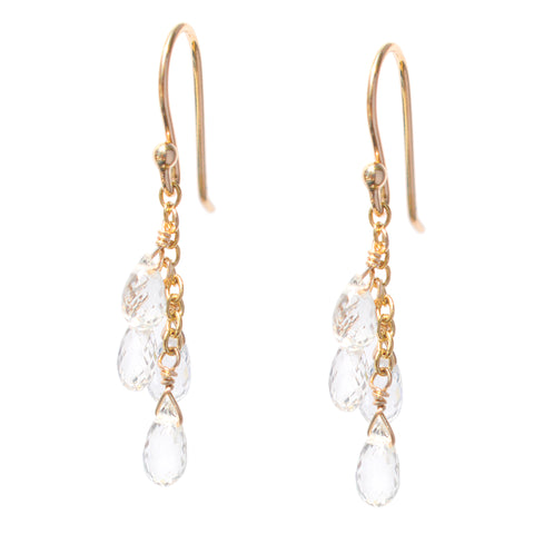 Anne Sportun Gold Hook Earrings with Cascading White Sapphire Briolettes
