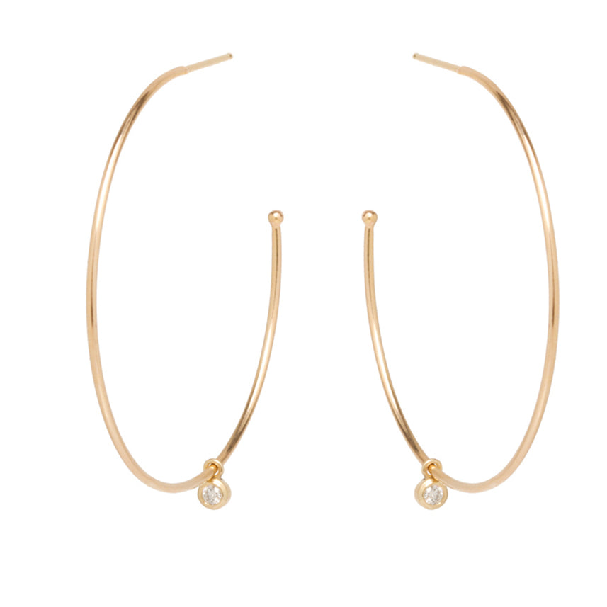 Large Gold Hoop Earrings with Diamond Dangle