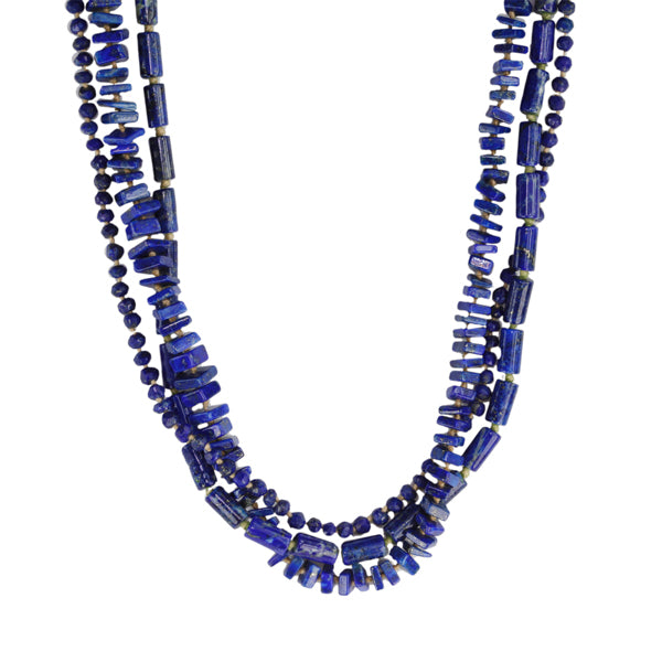 Triple Strand Lapis Beaded Necklace