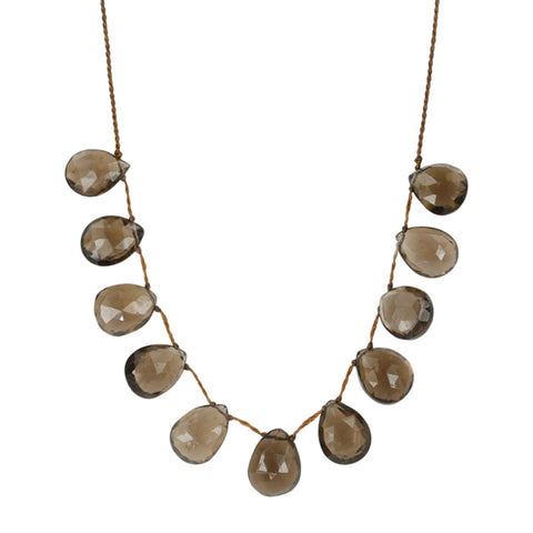 "Lena Skadegard Smokey Topaz Floating ""Pebble"" Necklace"