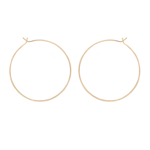 "Gold Large Thin Hammered 2"" Hoop Earrings"