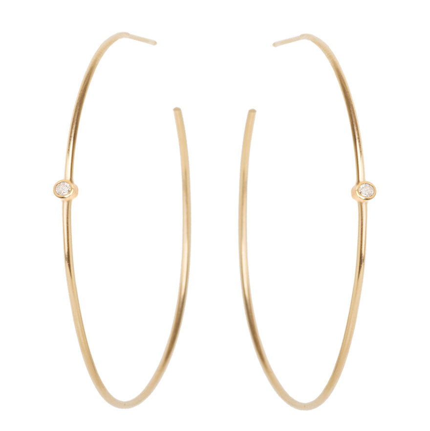 Gold Large Thin Hoop Earrings with Diamonds