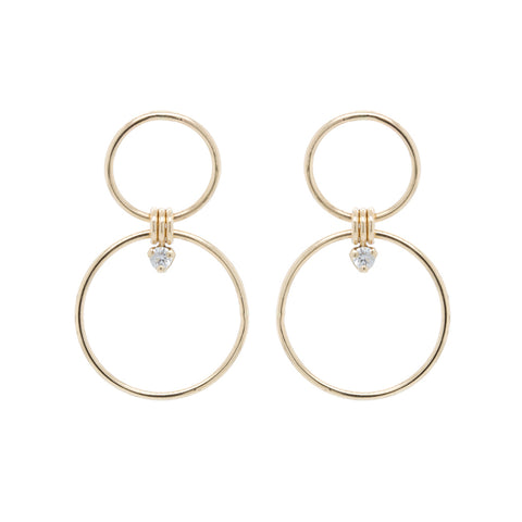 Gold Double Front-Facing Hoop Earrings with Diamonds