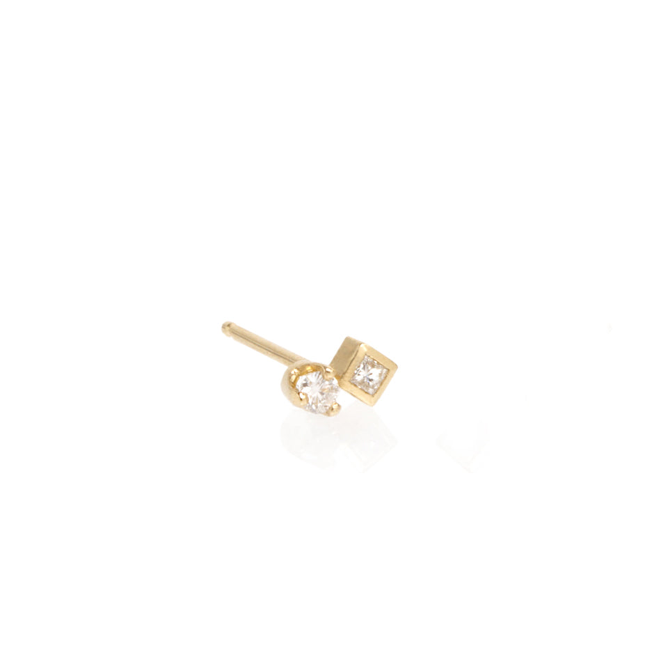 Gold Mixed Diamond Post Earring