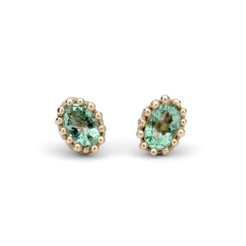 Gold and Emerald Studs with Filigree Detail