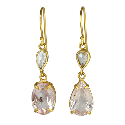 Rosecut Diamond and Morganite Drop Earrings