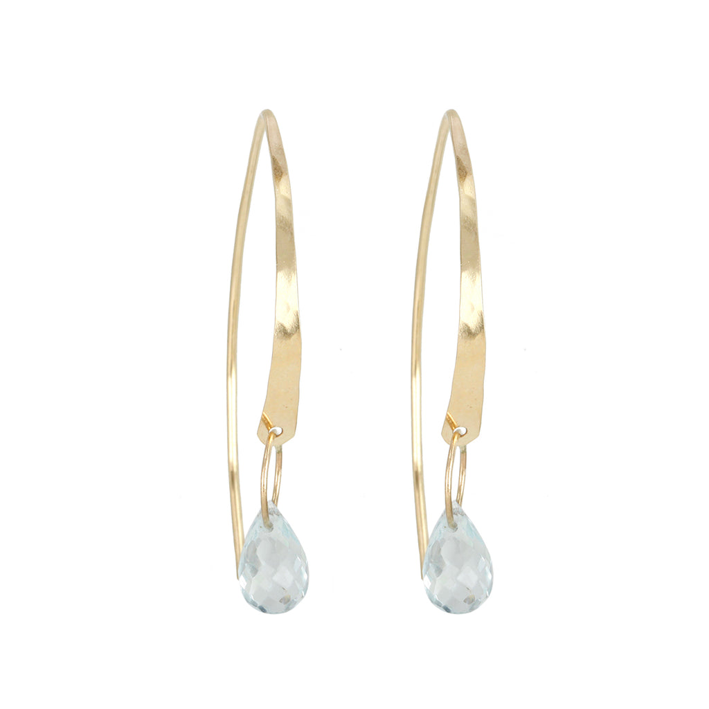 "Melissa Joy Manning Gold ""Wishbone"" Earrings with Aquamarine Drop"