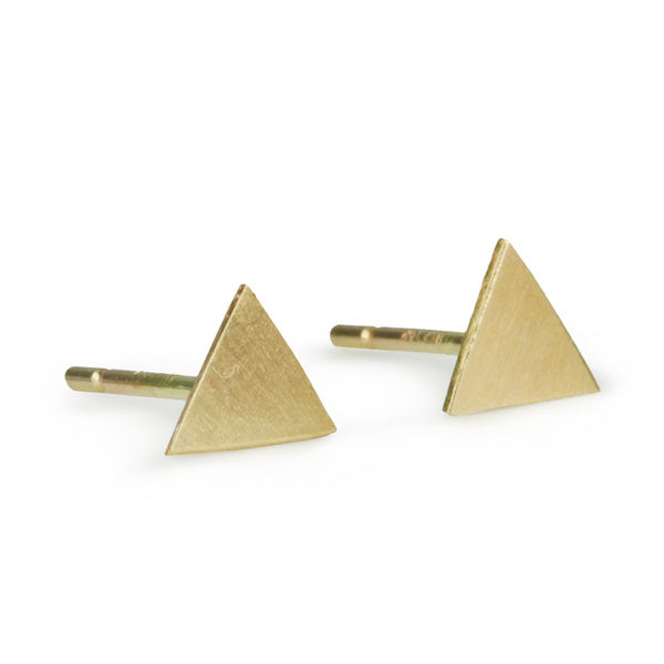 Gold Triangle Post Earrings