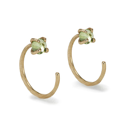 "Gold ""Hug"" Earrings with Peridot"