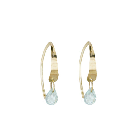 "Small ""Wishbone"" Hoop Earrings with Blue Topaz Briolette Drop"