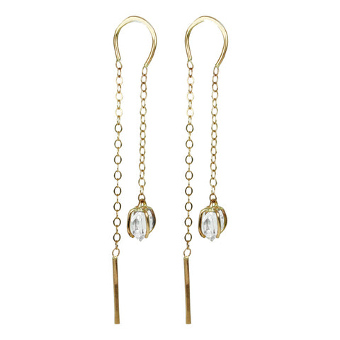 Melissa Joy Manning Herkimer Diamond Horseshoe and Chain Earrings
