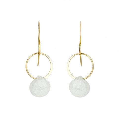 Melissa Joy Manning Gold Circle Earrings with White Rainbow Moonstone Drop
