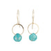 Melissa Joy Manning Gold Open Circle Earrings with Turquoise Drop