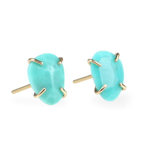 Melissa Joy Manning Gold Prong-Set Freeform Turquoise Studs