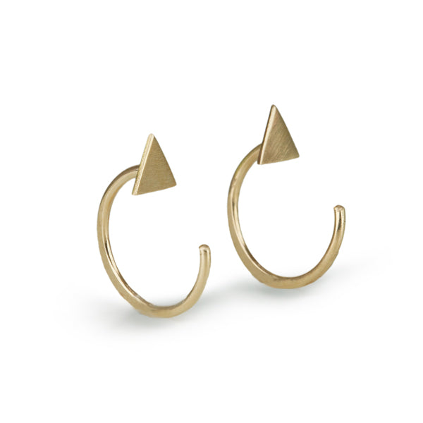 "14K Gold Triangle ""Hug"" Earrings"
