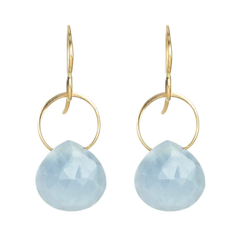 Gold and Blue Opal Teardrop Earrings