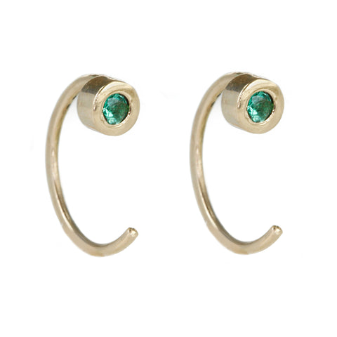 Melissa Joy Manning Gold Bezel-Set Emerald Hug Earrings
