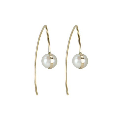 Melissa Joy Manning Wishbone Earrings with Bezel-Wrapped Pearls