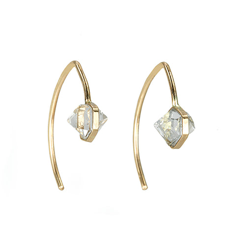 Melissa Joy Manning Gold Mini Wishbone Earrings with Herkimer Quartz