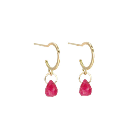 Gold Tiny Hoops with Ruby Drops