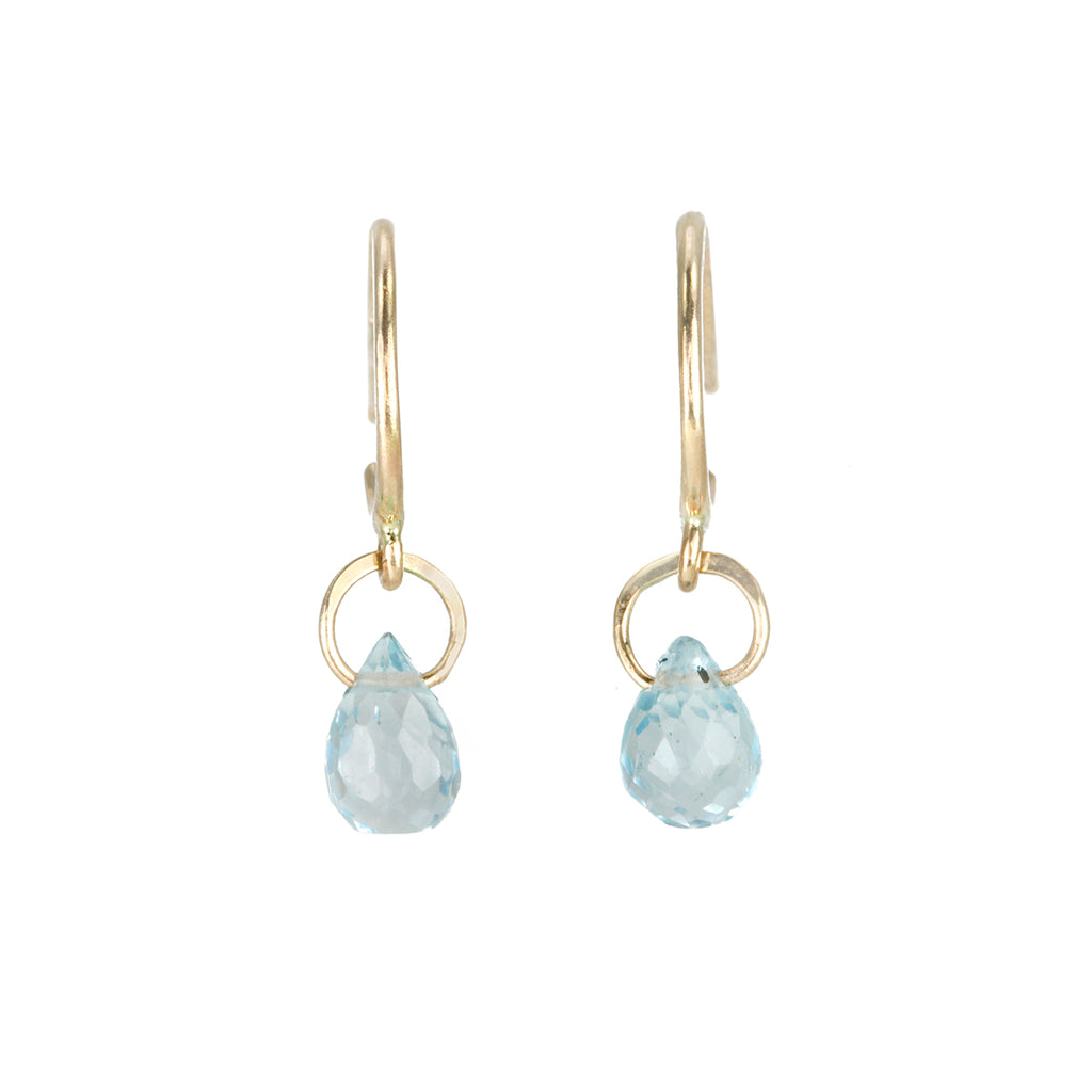 Gold Tiny Hoops with Blue Topaz Drops