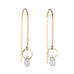 "Gold ""Hook"" Earrings with Rainbow Moonstone Drop"