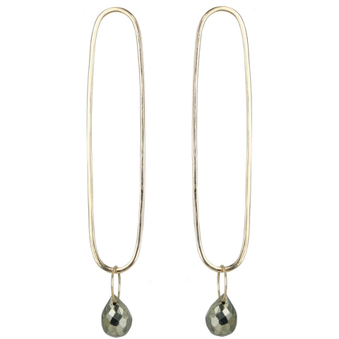 Elongated Oval Stud Earrings with Pyrite Drop